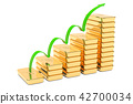 Stairs from golden bars with growth green arrow 42700034