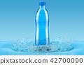Water bottle with splash, 3D rendering 42700090