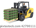 Wooden pallet with glass bottles wrapped 42700111