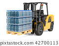 Wooden pallet with water bottles wrapped 42700113