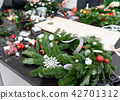 Manufacturer of Christmas wreath from branches of pine for holiday. Master class on making 42701312