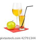 Fresh apple juice with fruits, isolated on white 42701344