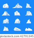 Set of isolated iceberg or glacier, crystal 42701345
