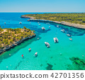 Aerial view of boats, luxury yachts and sea 42701356