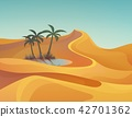 Panorama or landscape of desert with oasis 42701362