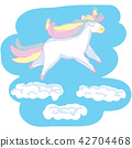 Beautyful unicorn. On blue scetchy background with clouds 42704468