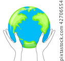 Globe in hands. hold the Earth planet, icon design 42706554