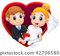 Wedding couple with red frame 42706580