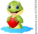 Cartoon frog holding a heart 42706594