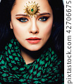 beauty eastern real muslim woman with jewelry close up, bride wi 42706675