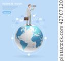 Businessman standing world with binoculars 42707120