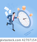 Businessman running with stopwatch time concepts 42707154