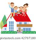 家人坐在屋頂上 42707180