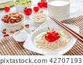 kong-guksu - cold korean soup, top view 42707193