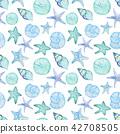 Watercolor seamless sea pattern 42708505