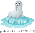 Cartoon walrus on the on ice floe 42708619