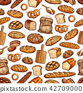 Bread loaf, bun and baguette seamless pattern 42709000