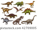 Dinosaur and prehistoric reptile animal sketches 42709005
