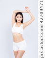 Portrait asian woman beautiful body diet with fit 42709471