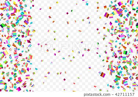 Bright colorful falling confetti - Stock Illustration