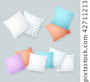 Realistic Detailed 3d Color and White Pillows Set. Vector 42711213