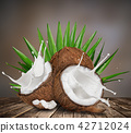 close-up of a coconuts with milk splash. 42712024