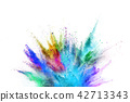 Colored powder explosion on white background. 42713343