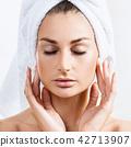 Sensual woman in bathrobe and bath towel. 42713907