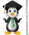 Penguin with graduation cap and striped tie 42713946