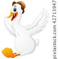 Cute swan cartoon wearing a hat 42713947
