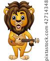 Funny lion cartoon playing guitar 42714348