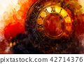 Vintage pocket watch and softly blurred watercolor background. 42714376