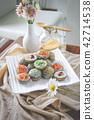 Khanom khrok.Coconut pudding Thai desserts. 42714538