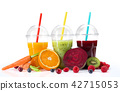 Fresh juice mix fruit, healthy drinks on white background. 42715053