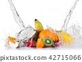 Fresh fruit with water splash over white background. 42715066