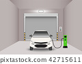 Car garage room, EV car charging room, Vector 42715611