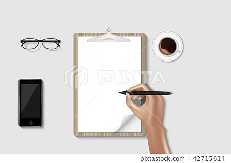 Top view of workspace desktop and creative design 42715614