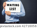 Businessman holding white board with WAITING LIST  42716056