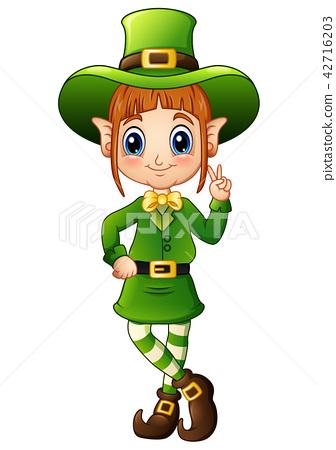 Cartoon girl leprechaun peace hand gesture 42716203