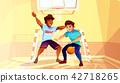 College boys play basketball vector illustration 42718265