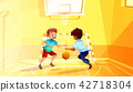 School boys play basketball vector illustration 42718304