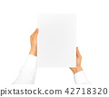 Hand holding blank paper sheet 42718320