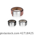 Mens belt set with blank badge mockup isolated. 42718425