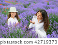 young woman and girl are in the lavender field 42719373