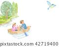 男性和女性划艇和蓝色鸟 42719400