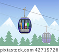 mountain landscape with cabin ski cableway vector 42719726