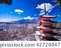 (야마나시 현) 강설이 있던 新倉山 아 사마 공원 충령 탑과 후지산 42720047