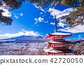 (야마나시 현) 강설이 있던 新倉山 아 사마 공원 충령 탑과 후지산 42720050