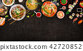 Various of asian meals on rustic background , top view , place for text. 42720852