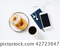 doughnuts with cup of coffee 42723647